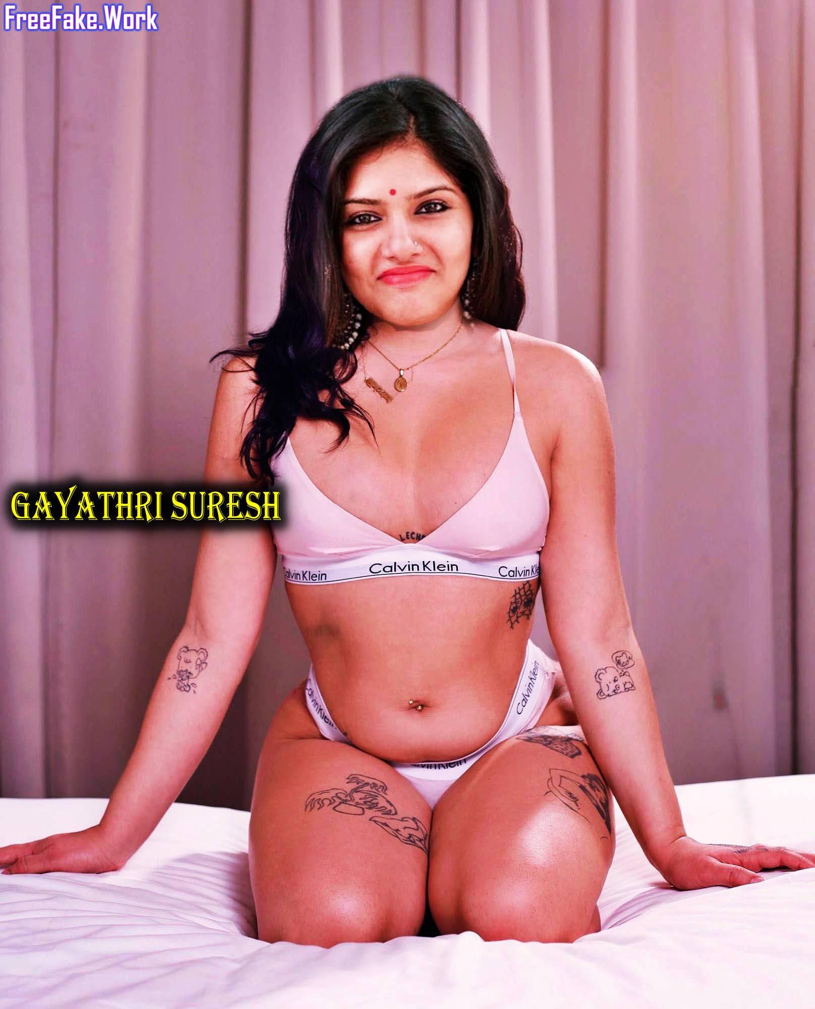 Hot-Gayathri-Suresh-bra-and-undies-nude-navel-on-bed.jpg