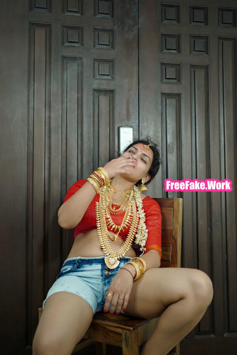 Resmi-R-Nair-2021-red-blouse-smoking-pre-wedding-shoot.jpg